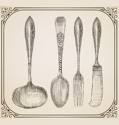 Set cutlery doodle style vector