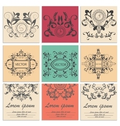 Set greeting cards flower baroque ornament vector image
