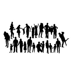 set happy family silhouettes vector image