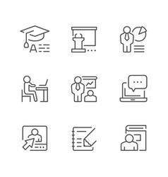 set line icons training vector image