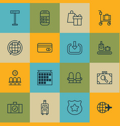 Set of 16 traveling icons includes world vector