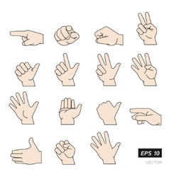 Set of Flat Line Hands Isolated on vector image