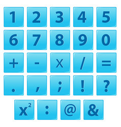 set of number and math symbol vector image