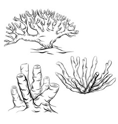 set of various black and white contour cartoon vector image