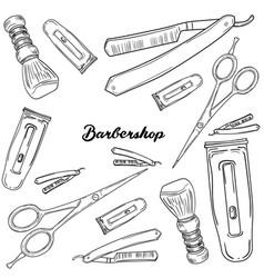Set of vintage barbershop elements vector