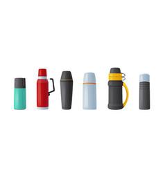 Set thermo tumblers vacuum flask mugs vector
