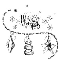 Set with christmas decor and phrase merry vector