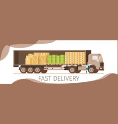 side veiw of open express delivery truck banner vector image