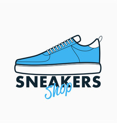 sneakers shop logo sport shoes sign vector image