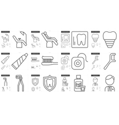 Stomatology line icon set vector image