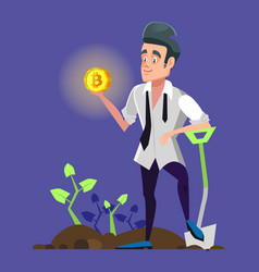 Successful bitcoin miner holding golden coin vector