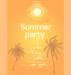 Summer beach party background with sunset vector