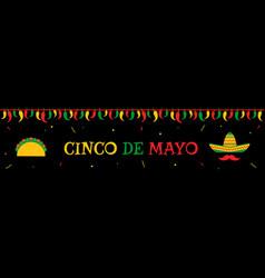 taco and sombrero cinco de mayo event web banner vector image
