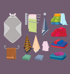 Textile cottons fabric blankets and kitchen rags vector