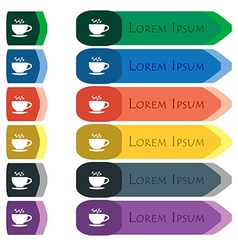 The tea and cup icon sign Set of colorful bright vector image
