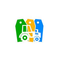 Tractor logo design label farm icon logo design vector