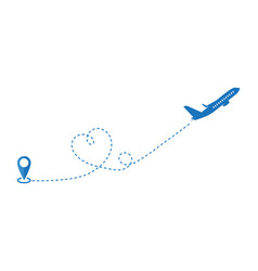 Travel plane path colour icon or dashed line vector