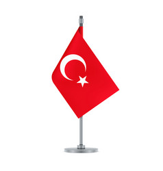 Turkish flag hanging on metallic pole vector