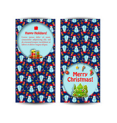 two snowman banner set vector image