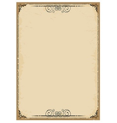 Vintage background on old paper with ornate frame vector image