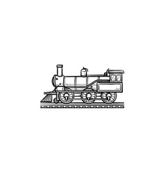 vintage locomotive hand drawn outline doodle icon vector image