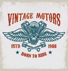 Vintage winged motor on grunge background design vector