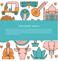 visit india concept banner template in colored vector image