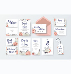 Wedding invite invitation menu thank you rsvp vector