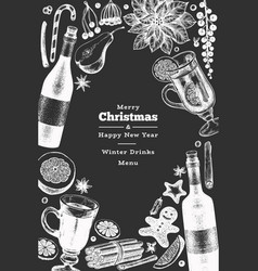 winter drinks banner template hand drawn engraved vector image