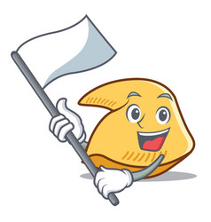 With flag fortune cookie mascot cartoon vector