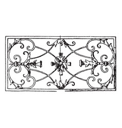 wrought-iron oblong panel is a 17th century vector image