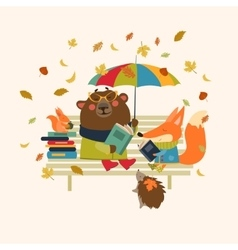 Cute fox and funny bear reading books on bench vector image vector image