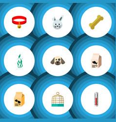 Flat icon animal set of bunny temperature vector