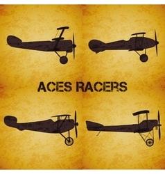 Set of retro airplane WW1 vector image vector image