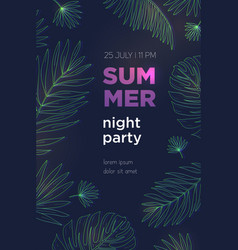 summer night party poster template with palm vector image vector image