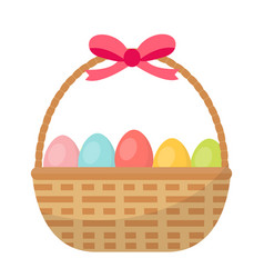 basket with painted eggs easter basket icon flat vector image vector image