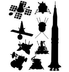 Collection of silhouettes of spacecrafts vector image vector image
