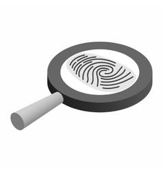 Fingerprint under a magnifying glass vector image vector image