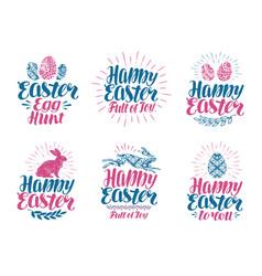 happy easter label set handwritten lettering vector image vector image