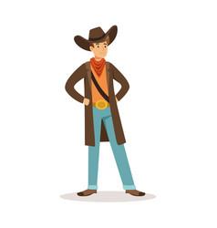 north american cowboy western cartoon character vector image vector image
