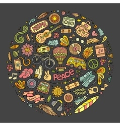 Set of Hippie cartoon doodle objects vector image