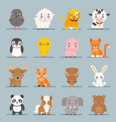 cute baby animals cartoon cubs flat design icons vector image