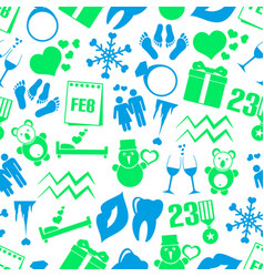 february month theme set of simple icons seamless vector image vector image