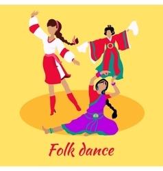 Folk Dance Concept Flat Design vector image