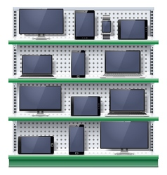 Shelves with Modern Electronic Devices vector image vector image