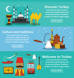turkey travel banner horizontal set flat style vector image vector image