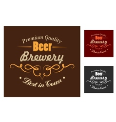 Brewery emblem or logo in retro style vector