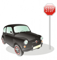 car and stop sign vector image