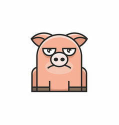 cute pig icon on white background vector image vector image