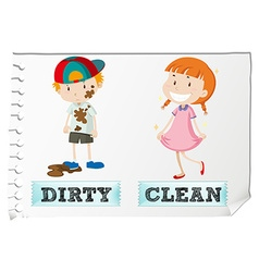 Opposite adjectives dirty and clean vector image vector image